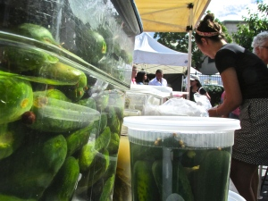There was actually a pickle company at the market, which I thought was awesome. The workers were busy restocking the pickles.