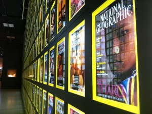the hundreds of copies of National Geographic magazines collected over the years. Located in the National Geographic Museum.